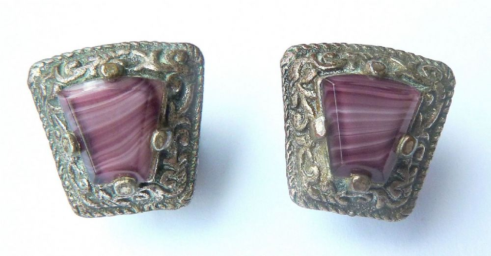 Vintage Celtic Style Amethyst Glass Clip On Earrings By